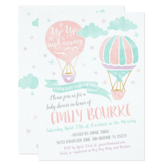 Up Up And Away Baby Shower Hot Air Balloon Invitation Zazzle Com