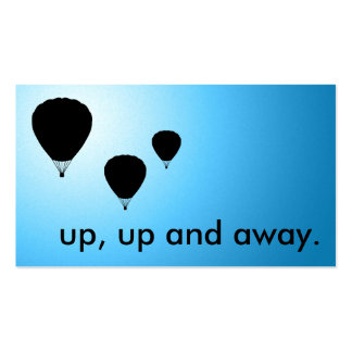 up, up and away. balloons. business card templates