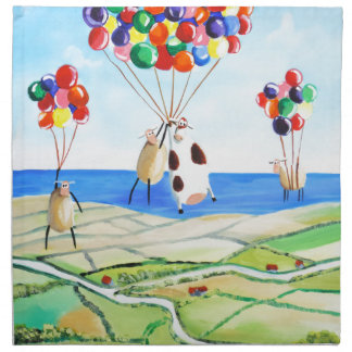 Up, up and away cow and sheep balloons poster cloth napkin