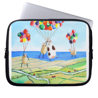 Up, up and away cow and sheep balloons poster laptop sleeve