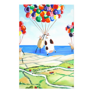 Up, up and away cow and sheep balloons poster stationery