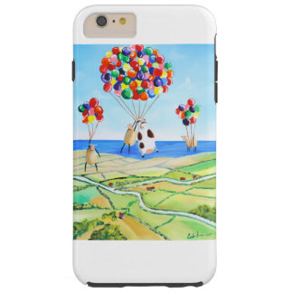 Up, up and away cow and sheep balloons poster tough iPhone 6 plus case