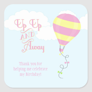 Up up and away hot air balloon favor sticker tag