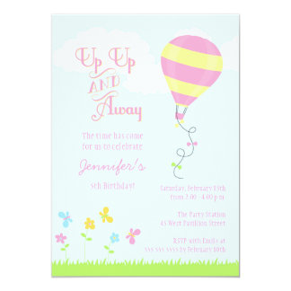 Up up and away hot air balloon girl birthday party card