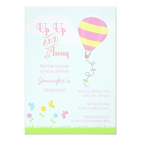 Up up and away hot air balloon girl birthday party invitation up up and away hot air balloon girl birthday party invitation filmwisefo