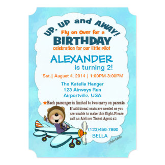 Up, Up And Away Party Invite