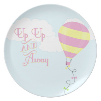 Up up and away pink hot air balloon plate