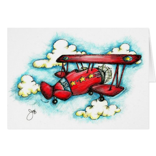 Up! Up! and Away - Retro Airplane With Clouds Cards