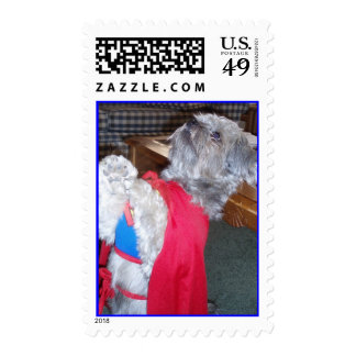 Up, Up, and Away Super Doggy Postage Stamp