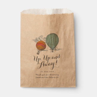 Up Up and Away Vintage Balloon Baby Shower Favor Bag