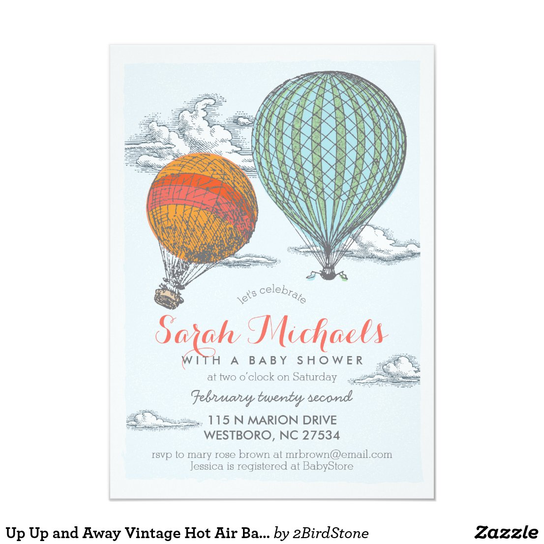 Up Up and Away Vintage Hot Air Balloon Baby Shower Card