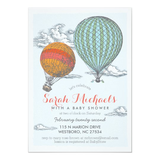 Up And Away Vintage Hot Air Balloon Baby Shower Invitation Zazzle