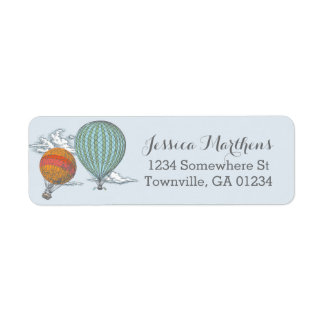 Up Up and Away Vintage Hot Air Balloon Mail Label
