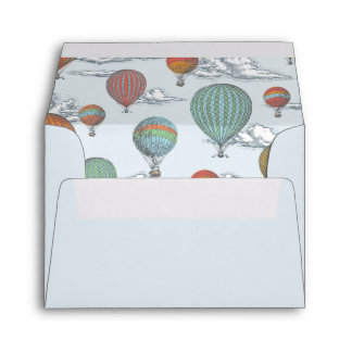 Up Up and Away Vintage Hot Air Balloon Thank You Envelope