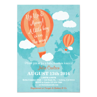 Up Up Away Baby Shower Invitation- Boy Card