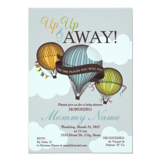 "Up Up & Away Hot Air Balloon Shower Invitation 5"" X 7"" Invitation Card"