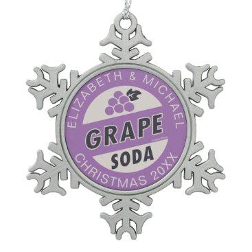 Disney Themed Up Wedding | Grape Soda Snowflake Pewter Christmas Ornament