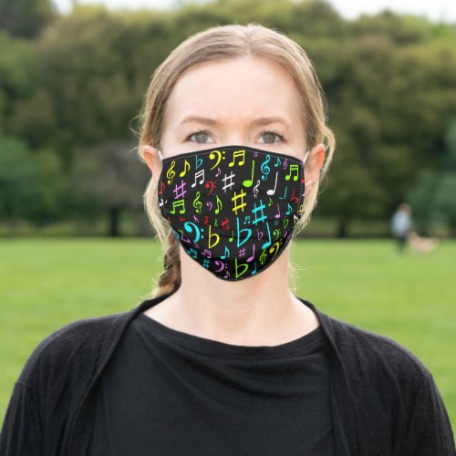 Upbeat Colorful Music Symbols Pattern Cloth Face Mask