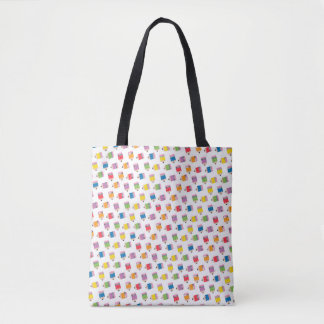 Upcycle Style Rainbow Mini Pencils Pattern Tote Bag