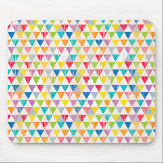 Upcycle Style Rustic Rainbow Triangles Pattern Mouse Pad