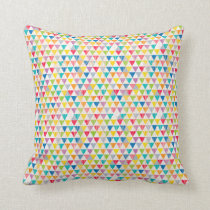 Upcycle Style Rustic Rainbow Triangles Pattern Throw Pillow