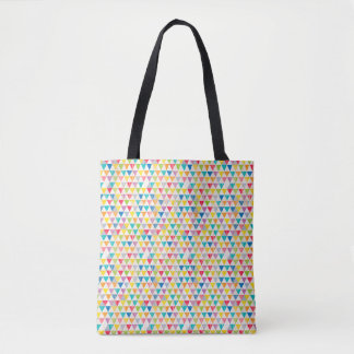 Upcycle Style Rustic Rainbow Triangles Pattern Tote Bag