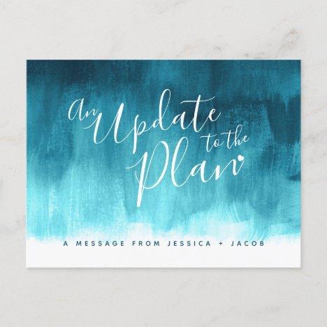 Update to plan aqua wash heart wedding cancelled announcement postcard