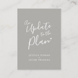 Update to plan gray white heart wedding cancelled enclosure card