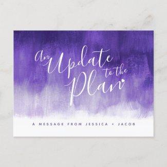 Update to plan purple wash heart wedding cancelled announcement postcard
