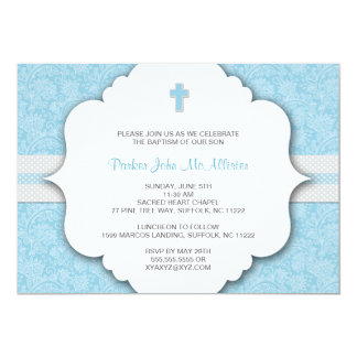 UPDATED Baptism Invites for Boys Blue Gray Damask