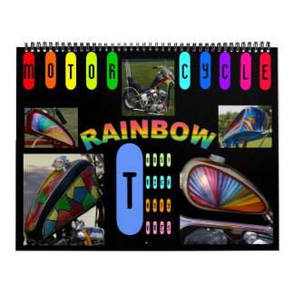 Updated! Motorcycle Rainbow 2013 -- 18 months Calendar
