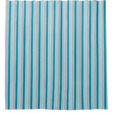 Beach Themed Updated Nautical stripes, blue gray white, beachy Shower Curtain