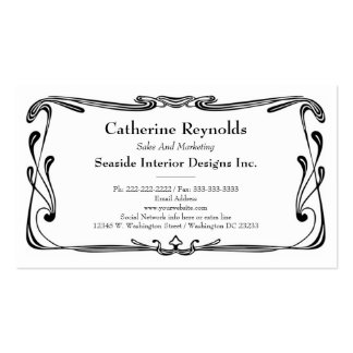 Updated Retro Art Deco Border Simple Flourish Double-Sided Standard Business Cards (Pack Of 100)
