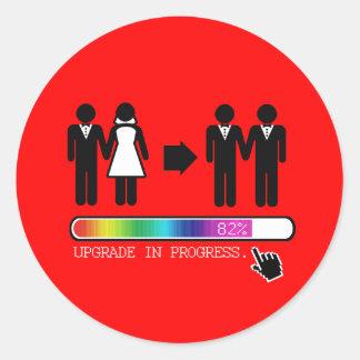 UPGRADE TO GAY CLASSIC ROUND STICKER