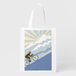 Uphill Cyclist Illustration Market Tote