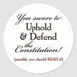 uphold and defend! classic round sticker