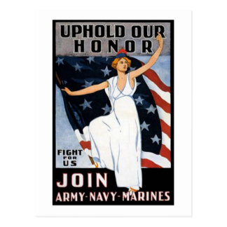 Uphold Our Honor Vintage Recruiting Poster Postcard