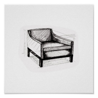 Upholstered Arm Chair Sketch Poster