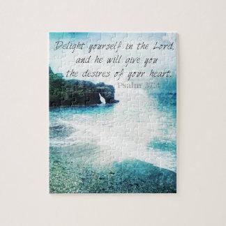 Uplifting Inspirational Bible Verse Psalm 37:4 Jigsaw Puzzle
