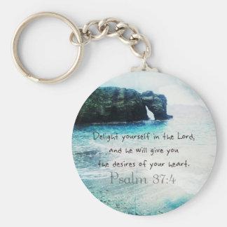 Uplifting Inspirational Bible Verse Psalm 37:4 Keychain