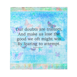 Uplifting Motivational Quotation by Shakespeare Notepad
