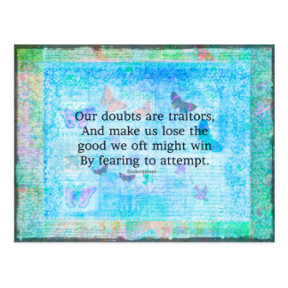 Uplifting Motivational Quotation by Shakespeare Postcard