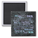 Uplifting word art 2 inch square magnet