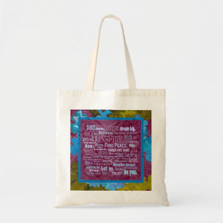 uplifting words tote budget tote bag