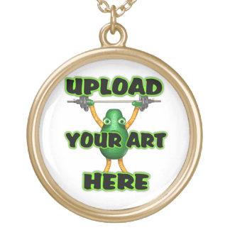 upload art round gold finish necklace