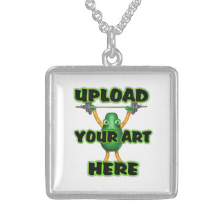 upload art to square sterling silver necklace