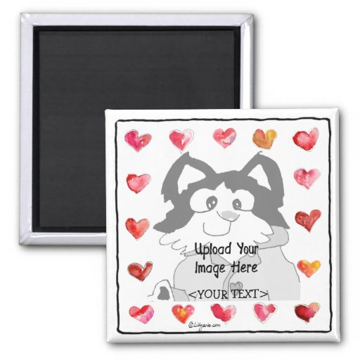 Upload Image Cartoon Hearts Personalized Magnets