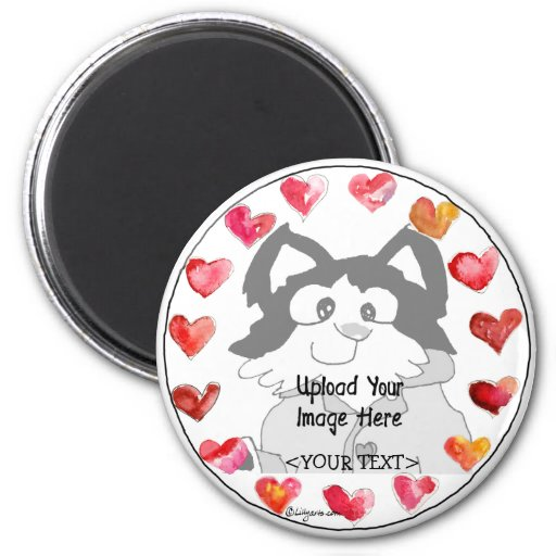 Upload Photo Cartoon Hearts Personalized Magnets
