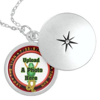 Upload photo to Leo zodiac sterling silver locket