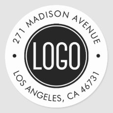 Upload Your Logo and Company Address Classic Round Sticker